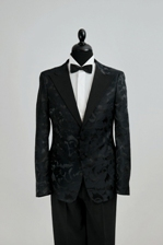 costume barbatesti ceremonie brocart negru made to measure